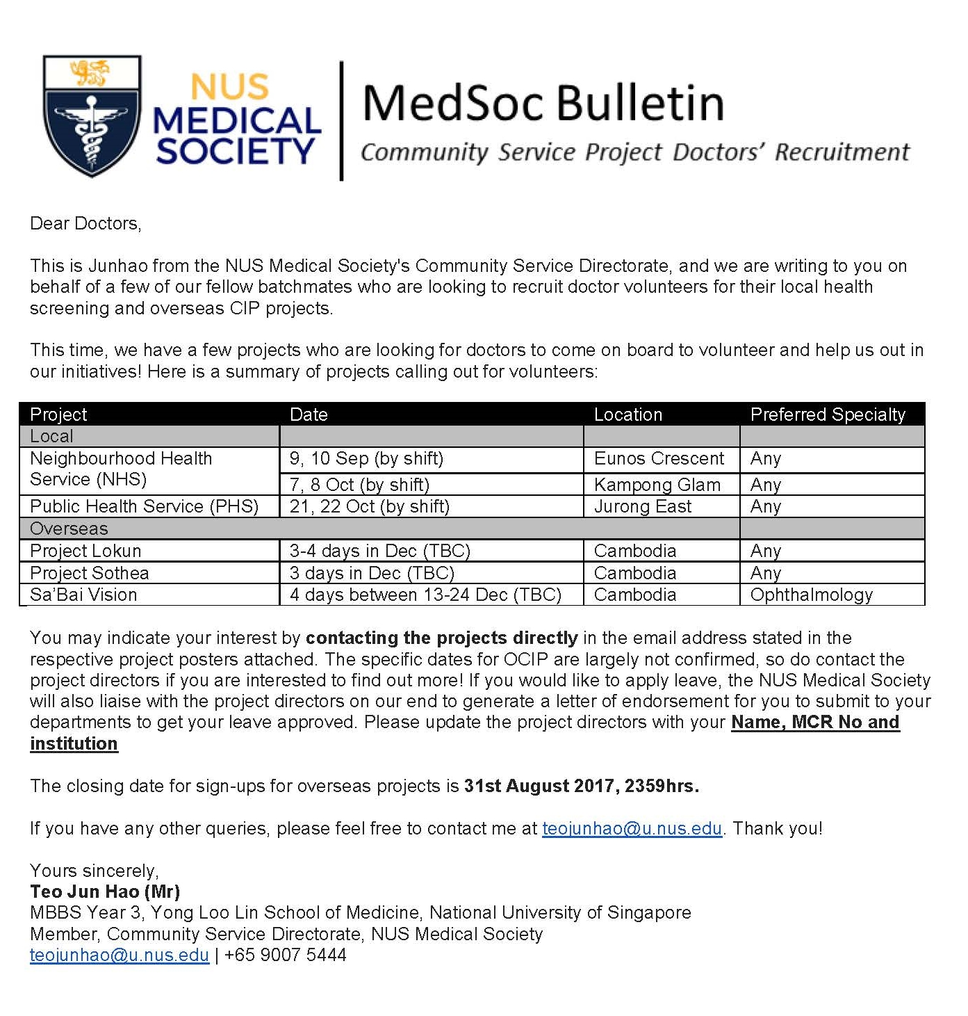 Medical Outreach Opportunities